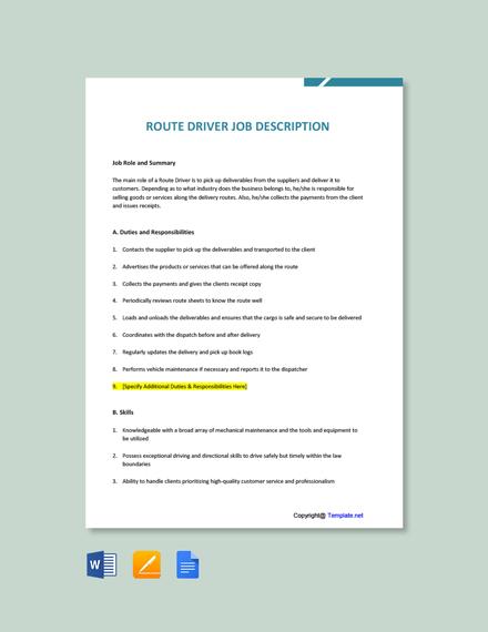 Free Route Driver Job Description Template
