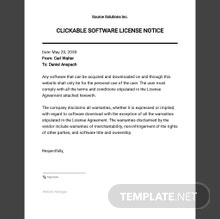 Clickable Software License Notice Template