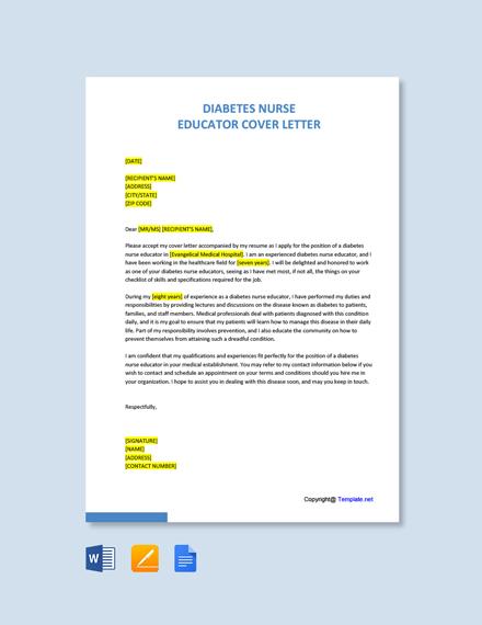 Free Diabetes Nurse Educator Cover Letter Template