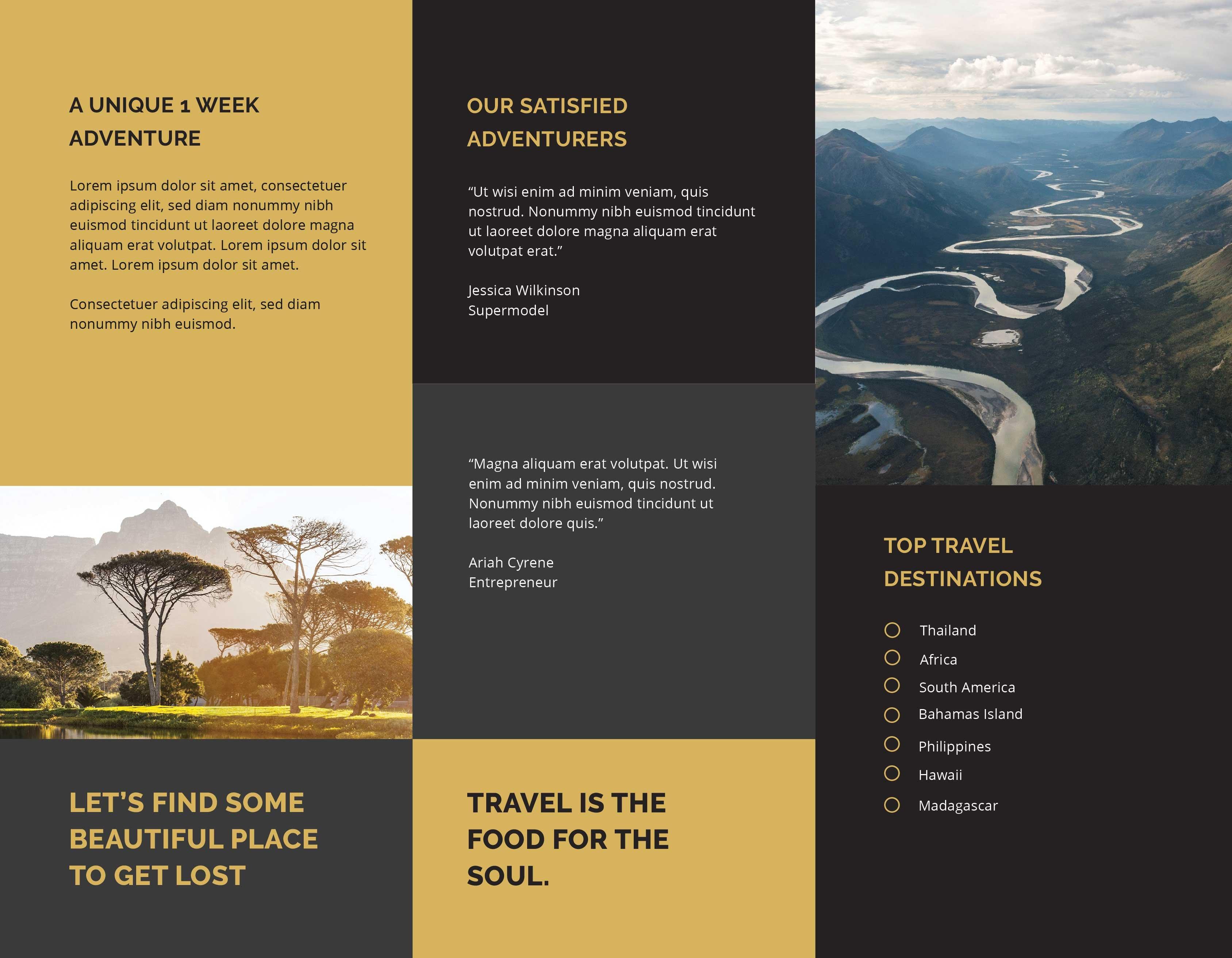 Tri Fold Travel Brochure Template In Adobe Photoshop Illustrator