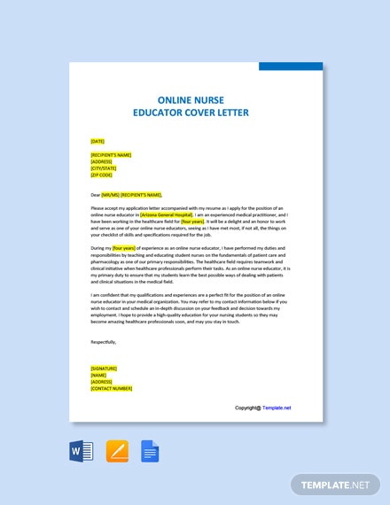 Free Online Nurse Educator Cover Letter Template