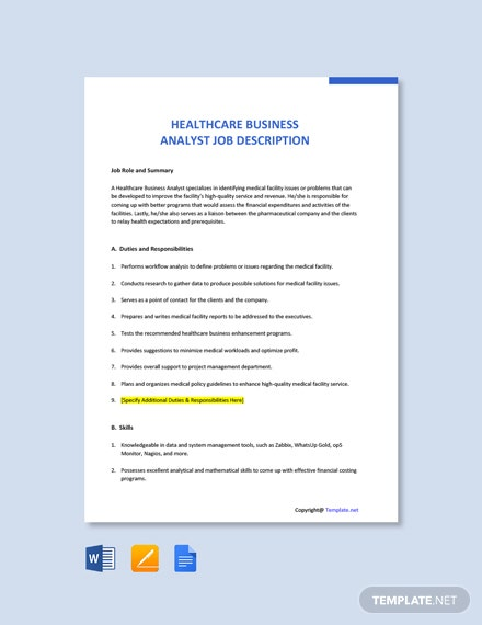 Free Healthcare Business Analyst Job Description Template