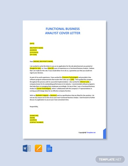 Free Functional Business Analyst Cover Letter Template