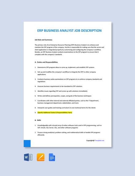 Free ERP Business Analyst Job Description Template