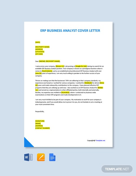 Free ERP Business Analyst Cover Letter Template