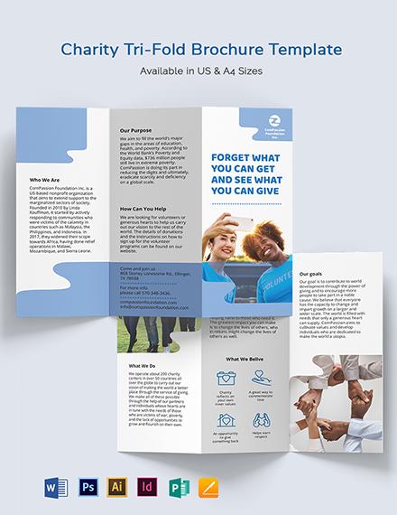 Charity Tri-Fold Brochure Template