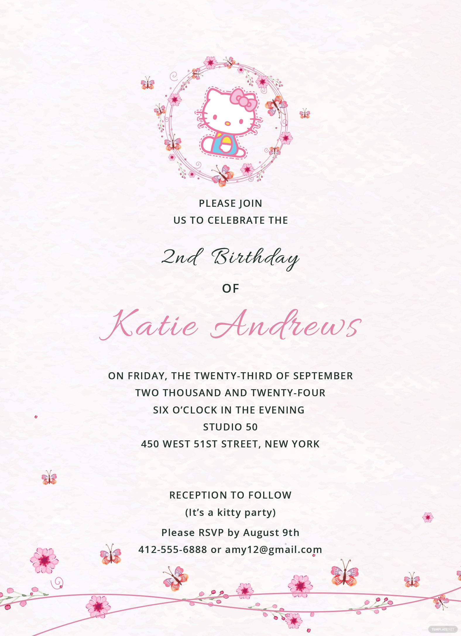 Hello Kitty Party Invitation Template in Adobe Photoshop