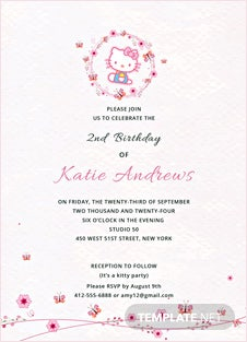 Hello Kitty Party Invitation Template