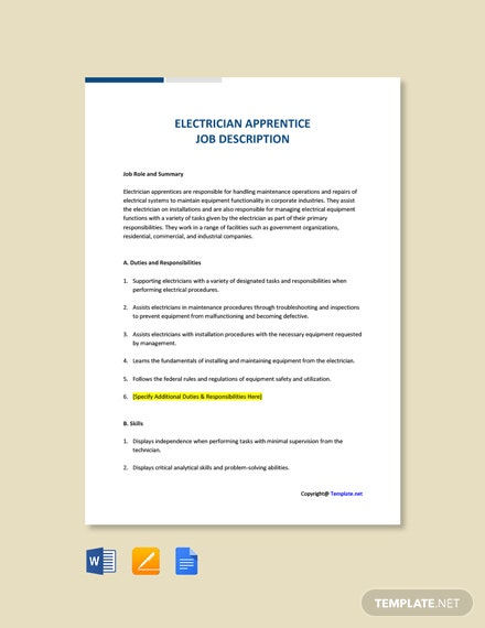 Free Electrician Apprentice Job Ad and Description Template
