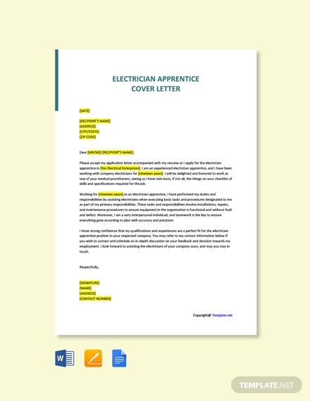 Free Electrician Apprentice Cover Letter Template