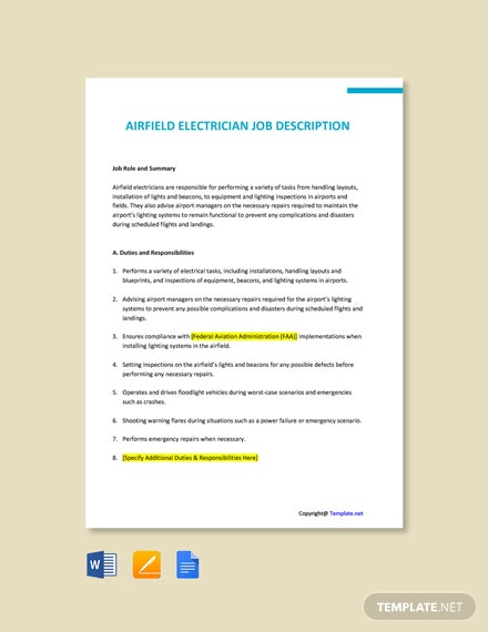 Free Airfield Electrician Job Ad and Description Template