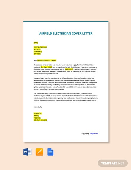 Free Airfield Electrician Cover Letter Template