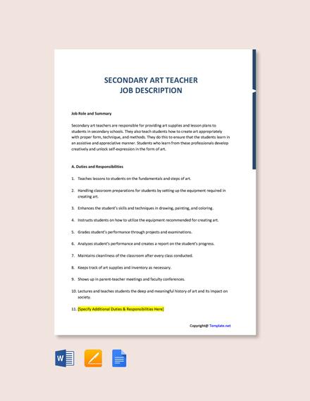 Free Secondary Art Teacher Job Description Template