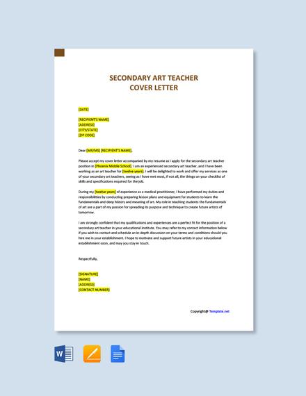 Secondary Art Teacher Cover Letter Template [Free PDF ...