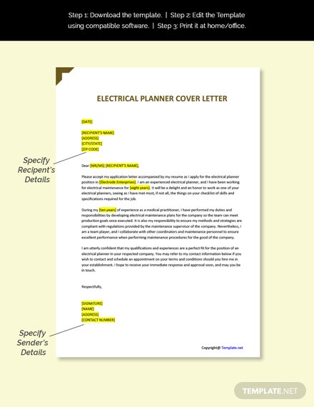 Electrical Planner Cover Letter Template