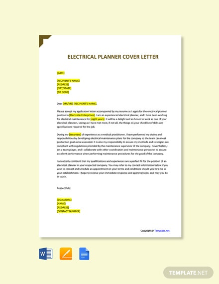 Electrical Planner Cover Letter
