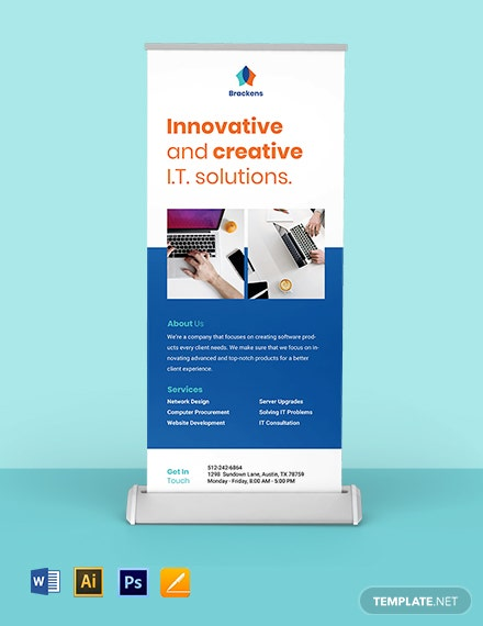 FREE Creative Software Roll Up Banner Template - Illustrator, Word, Apple Pages, PSD
