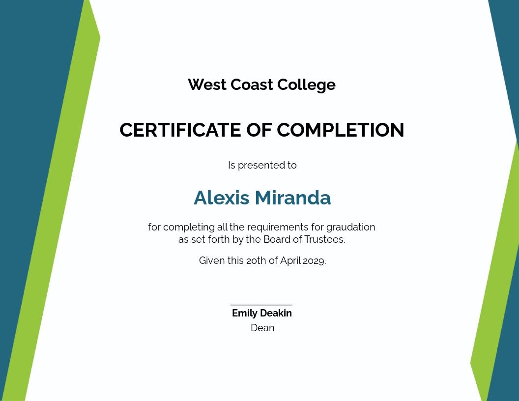 Sample Diploma Certificate Template