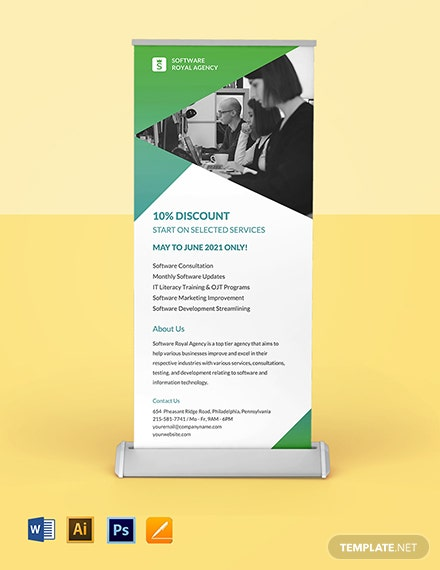 Software Agency Roll Up Banner Template