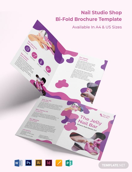 Nail Studio Shop Bi-Fold Brochure Template