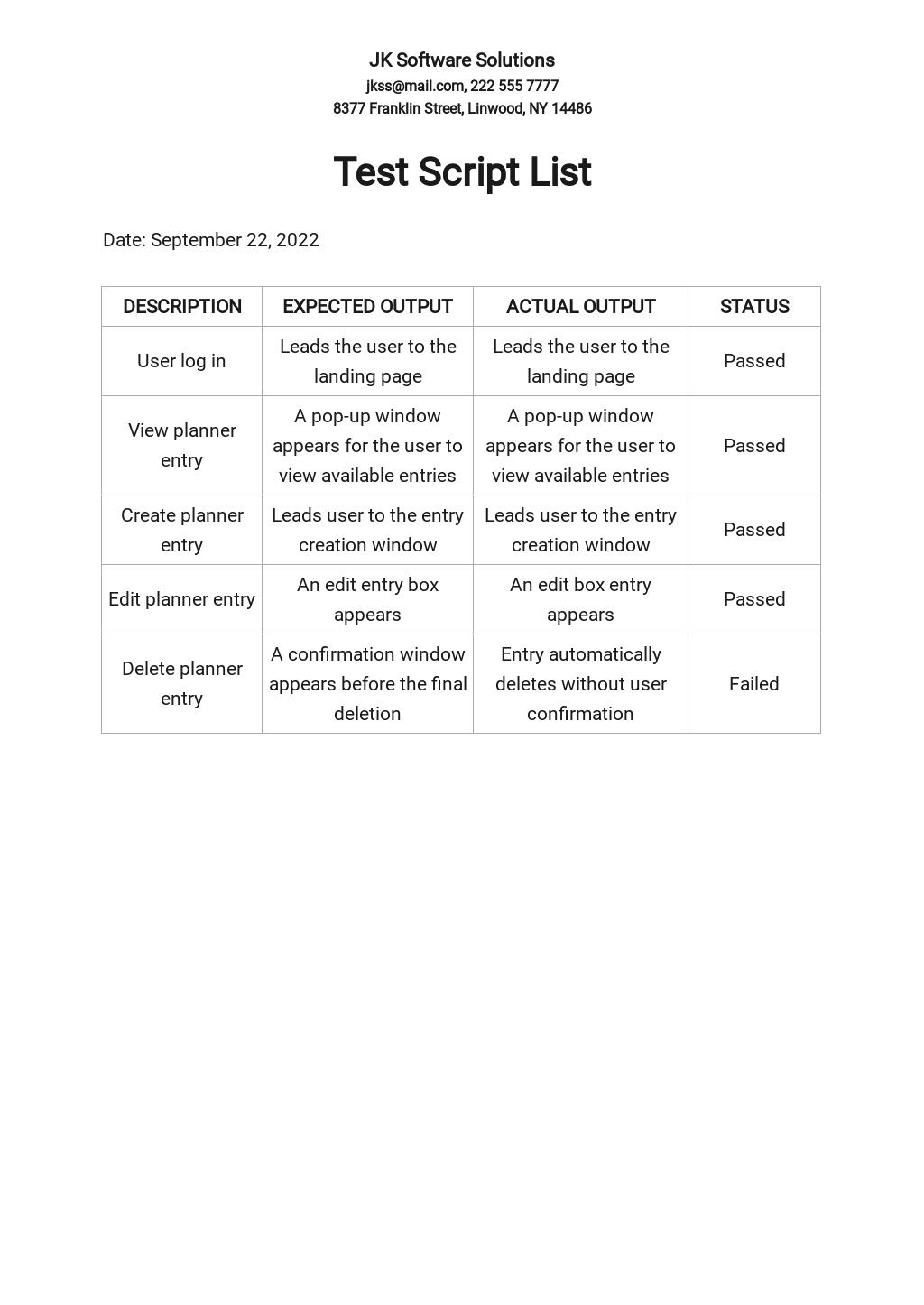 Test Script List Template