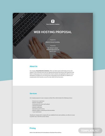 Web Hosting Proposal Template