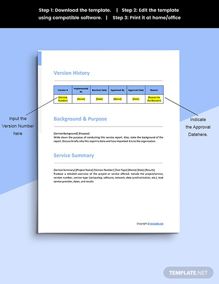 Free Sample IT Service Report Template Printable