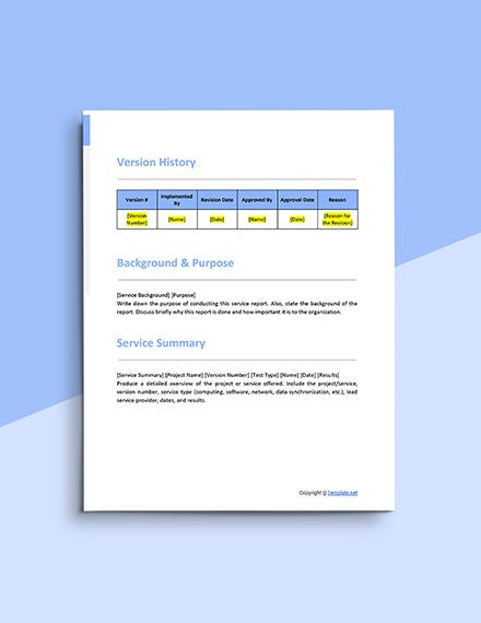 Free Sample IT Service Report Template Sample