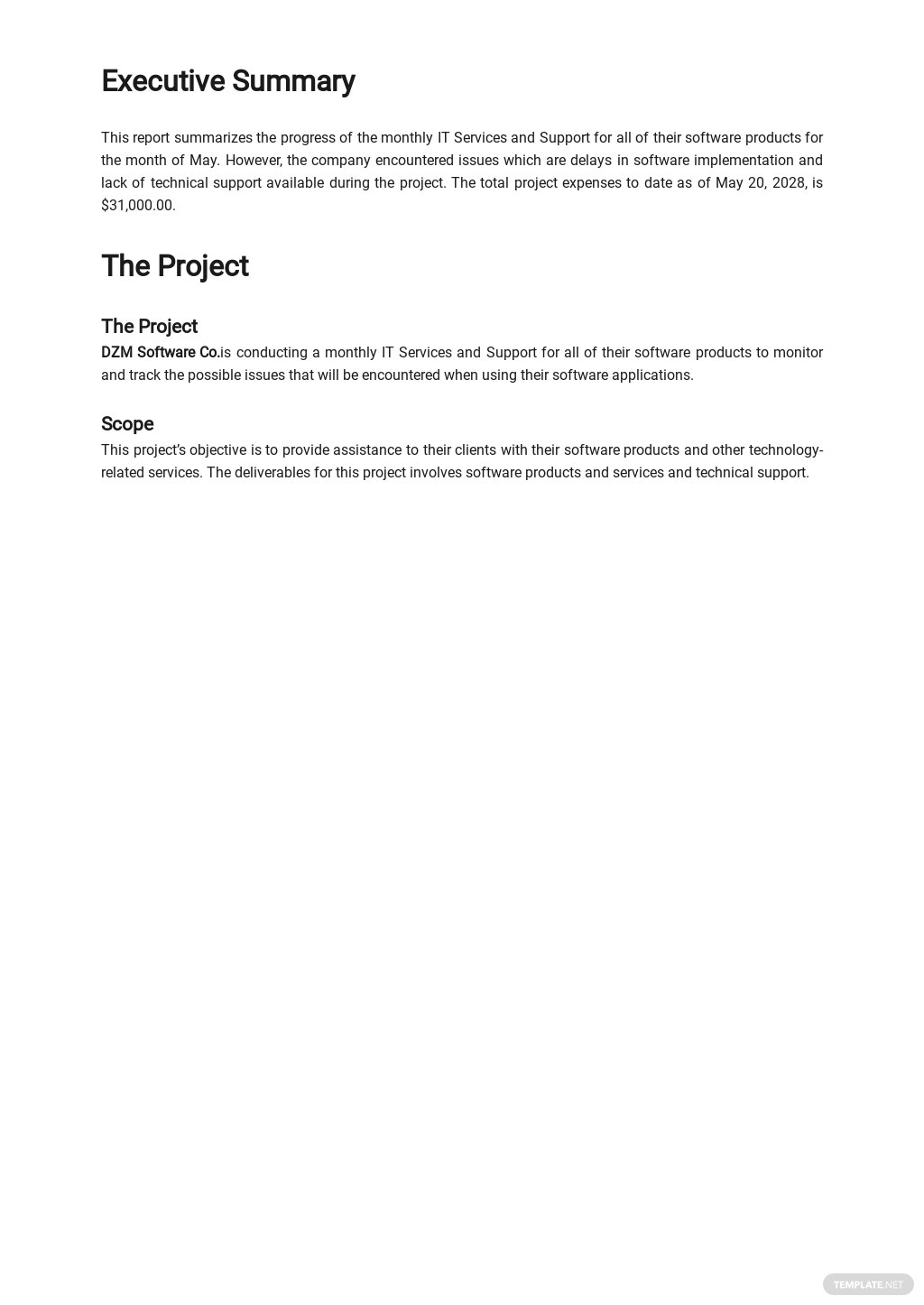 Free Monthly IT Service Report Template 1.jpe