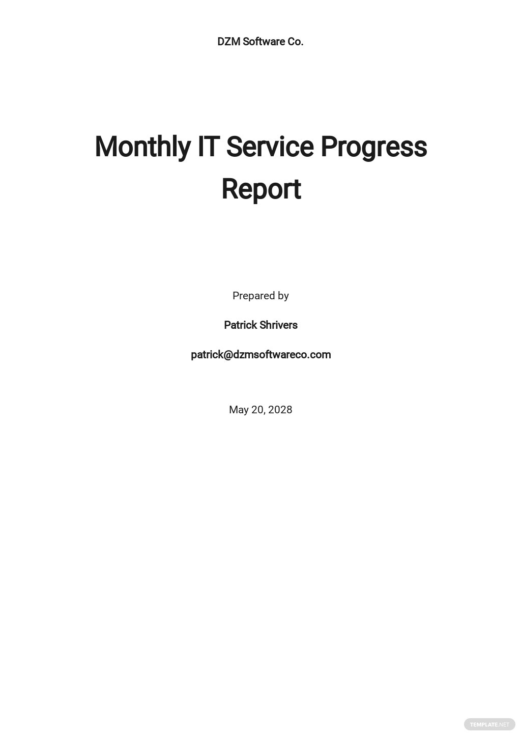 Monthly IT Service Report Template