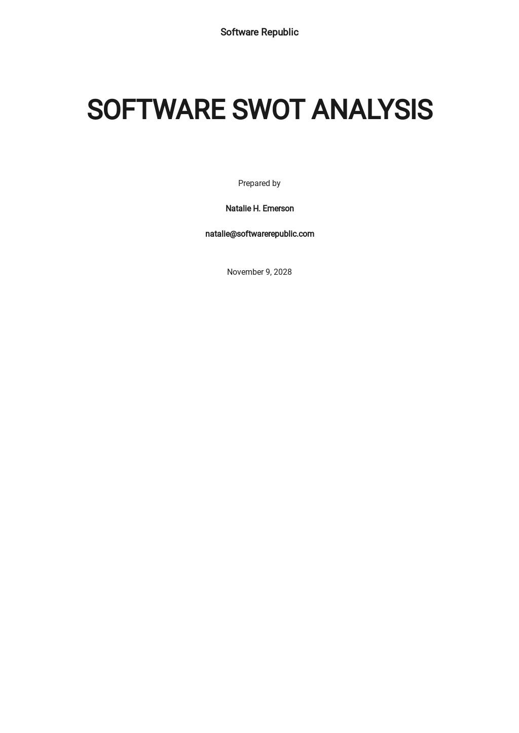Printable Software Swot Analysis Template