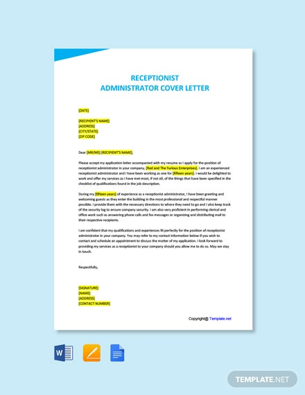 Free Administrator Receptionist Cover Letter Template
