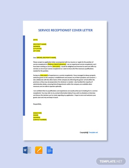 Simple Service Receptionist Cover Letter Template