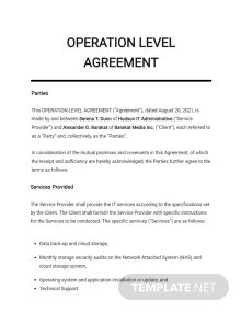 Operation Level Agreement Template