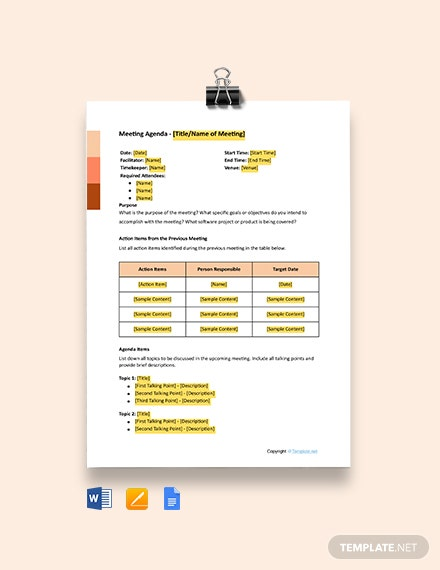 Free Software Meeting Agenda Template