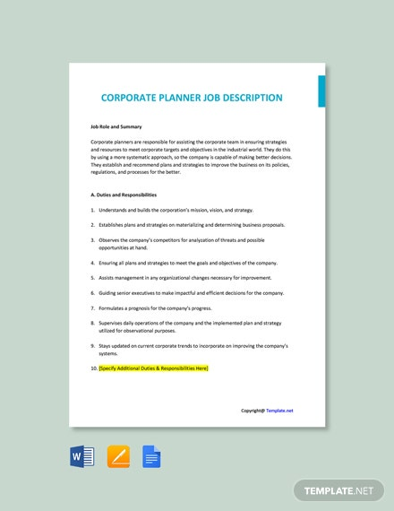 Free Corporate Planner Job Ad and Description Template