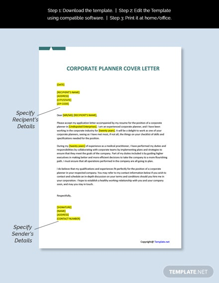 Corporate Planner Cover Letter Template
