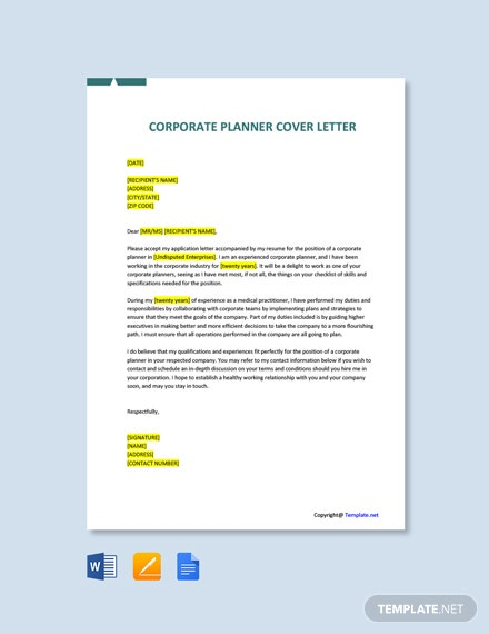 Free Corporate Planner Cover Letter Template