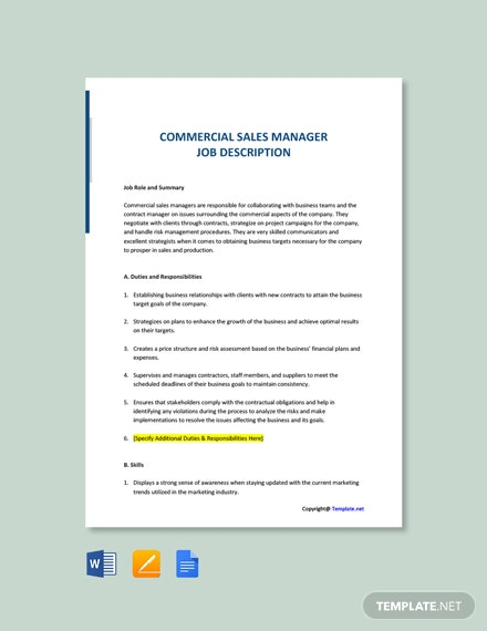 Free Commercial Sales Manager Job Description Template