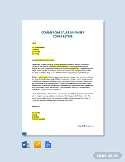 Free Commercial Sales Manager Cover Letter Template