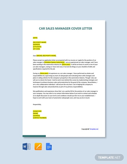 Free Car Sales Manager Cover Letter Template