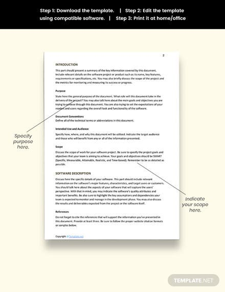 Free Software Requirements Template Format