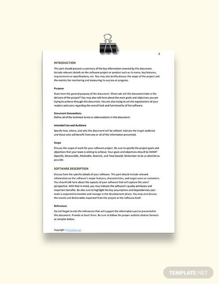 Free Software Requirements Template download