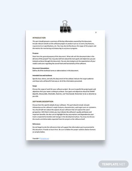 Free Software Interface Requirements Template download