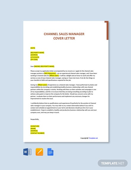 Free Channel Sales Manager Cover Letter Template