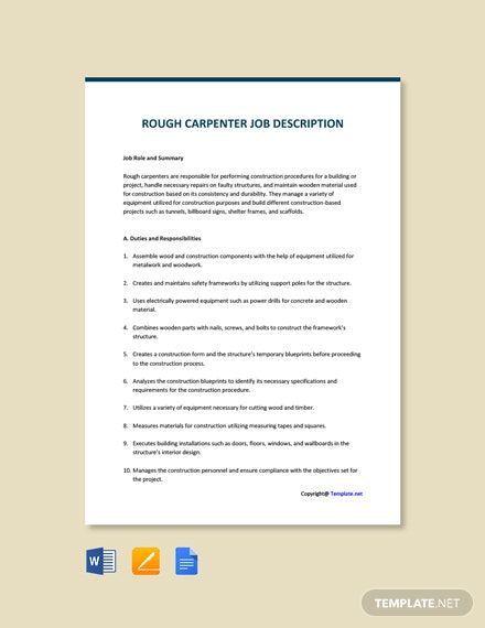 Free Rough Carpenter Job Ad/Description Template