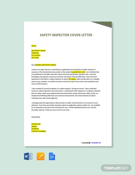 Free Safety Inspector Cover Letter Template
