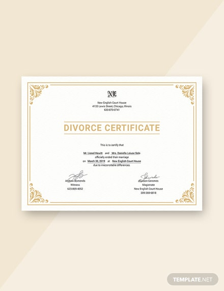 Free Divorce Certificate Template