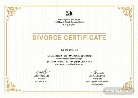 Free Divorce Certificate Template: Download 200 ...