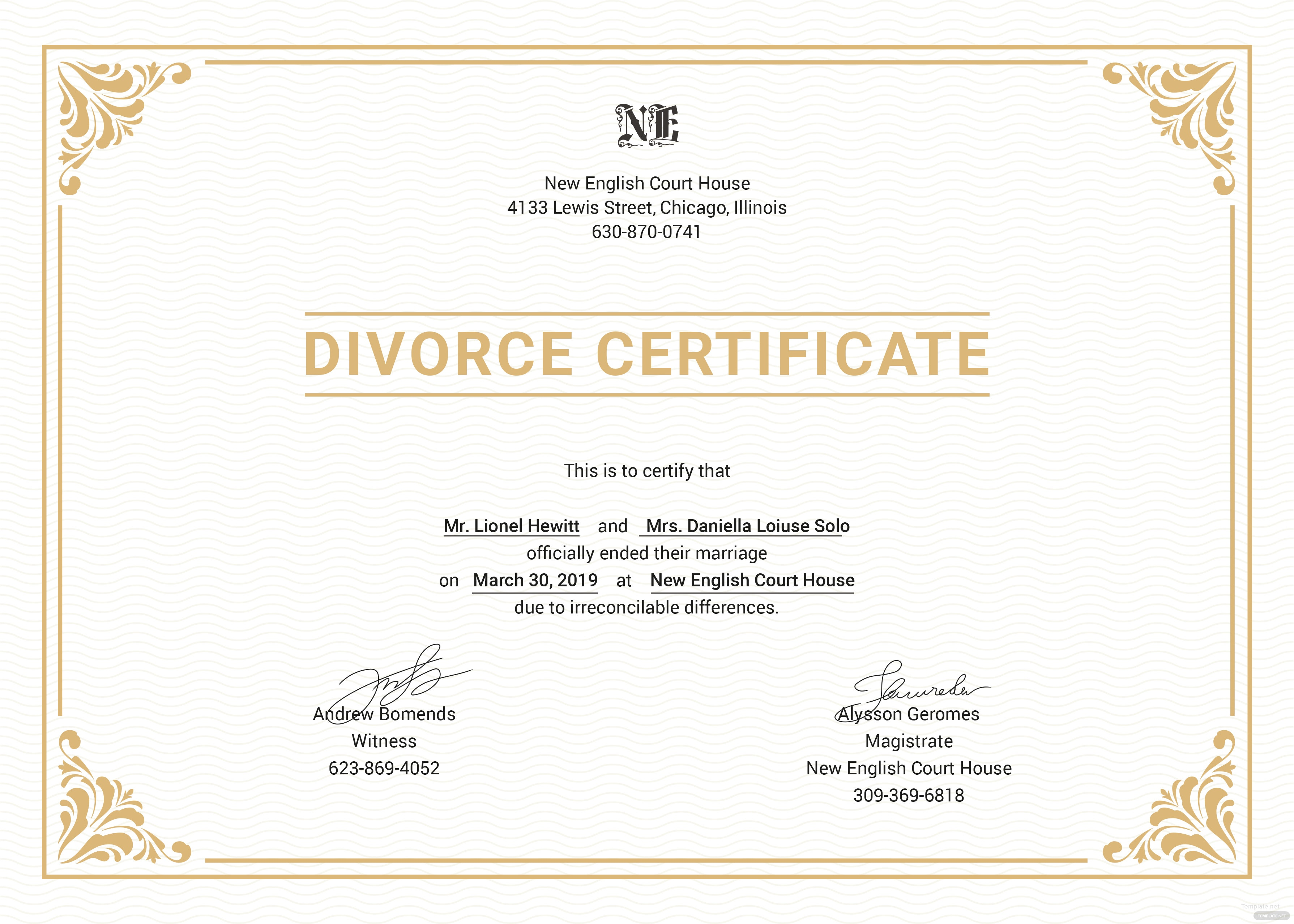 Free divorce certificate template in psd ms word for Certification document template